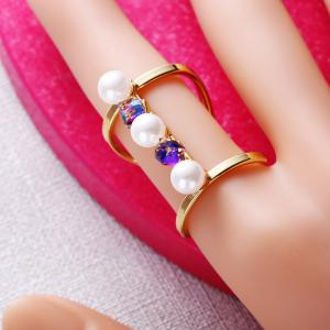 Women's Fashion Opening Long Pearls Rings Adjustable Charm Jewelry -
