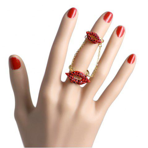 Shops Women's Red lip Nightclub Opening Chain Rings Charm Accessories