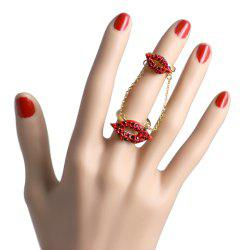 Women's Red lip Nightclub Opening Chain Rings Charm Accessories -