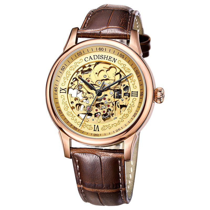 Fashion CADISEN C8066 Hollow-out Stainless Steel Band Men Mechanical Wristwatch