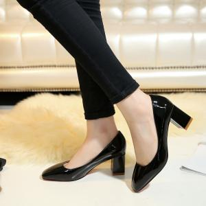 Women's Heels Spring Summer Formal Shoes Patent Leather Dress Chunky Heel -