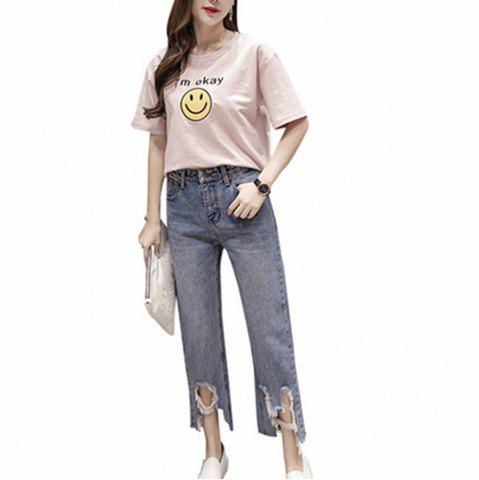Chic College Wind Burrow Making Old Holes  Jeans