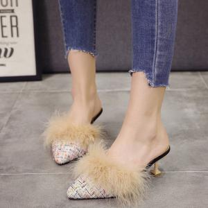 Women Autumn and Winter Fashion Sexy Outdoor Casual Simple Pointed Shoes with Fur Warm Fine Thin High Low Heel -