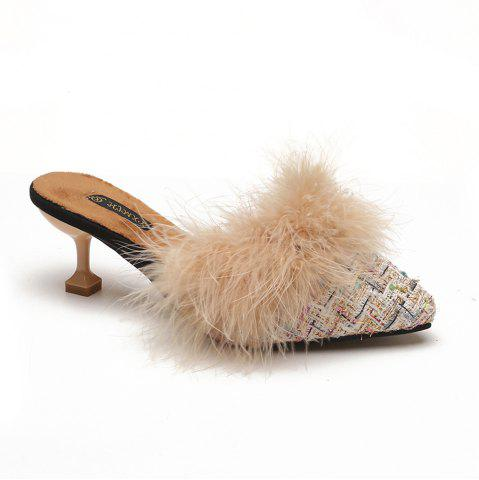 Sale Women Autumn and Winter Fashion Sexy Outdoor Casual Simple Pointed Shoes with Fur Warm Fine Thin High Low Heel