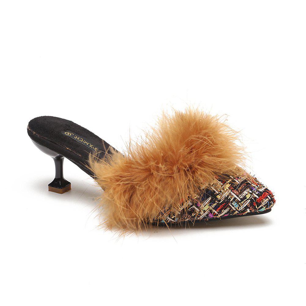Latest Women Autumn and Winter Fashion Sexy Outdoor Casual Simple Pointed Shoes with Fur Warm Fine Thin High Low Heel