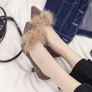 Women Autumn and Winter Fashion Sexy Casual Simple Pointed Shoes with Fur Warm Fine Thin High Low High Heel -