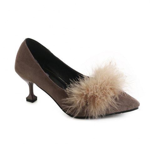Shop Women Autumn and Winter Fashion Sexy Casual Simple Pointed Shoes with Fur Warm Fine Thin High Low High Heel