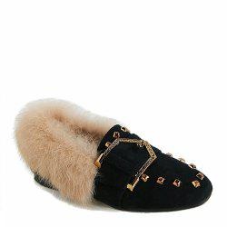 Women Fashion Casual Low Heel Roman Flat Single Shoes with Fur -