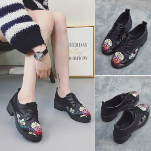 Women Spring Autumn Fashion Casual PU Leather Lace Shoes Waterproof Block Thick High Heel -