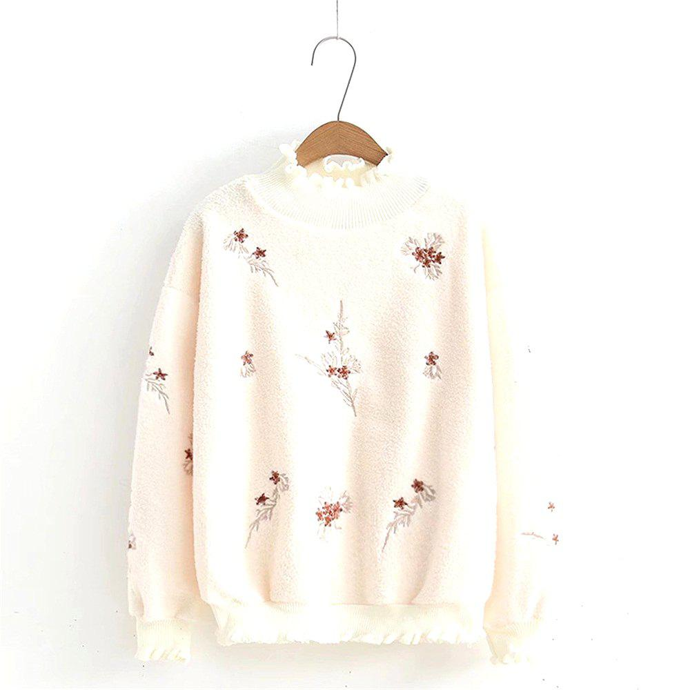 2018 Lamb Fleece Flowers Embroidered With A Wooden Ear Sweatshirt In