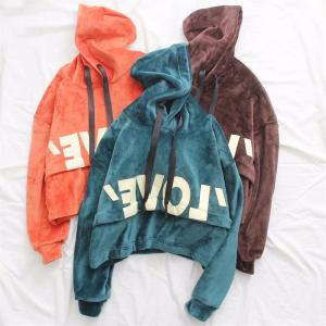 New Lady'S Two Sided Velvet Mosaic of The Letter Hoodie -
