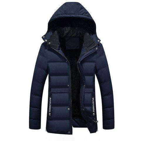 Hot Men's Winter Thicken Cotton Coat With Removable Hood