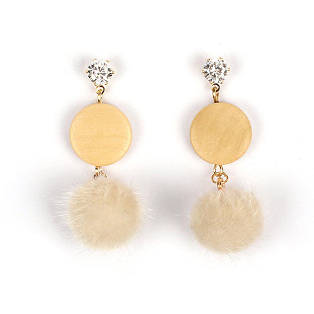 Sweet and Fresh Jewelry Hair Ball Wood Diamond Plush Velvet Girls Heart EarringsJEWELRY<br><br>Size: 1 PAIR; Color: BEIGE;