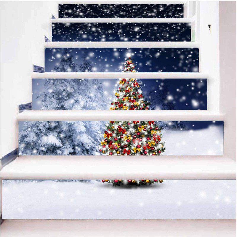 DSU New Year Staircase Christmas DIY Snow Town Wall Stickers Home Decal 6PCSHOME<br><br>Size: 18 X 100CM; Color: COLORFUL; Brand: DSU; Type: 3D Wall Sticker,Plane Wall Sticker; Subjects: Landscape,Others; Function: Decorative Wall Sticker; Material: Vinyl(PVC); Suitable Space: Living Room; Quantity: 1 Set;