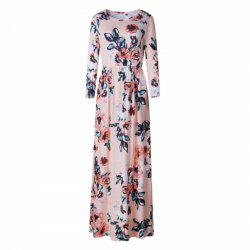 Long Sleeve Round Collar Color Long Dress -