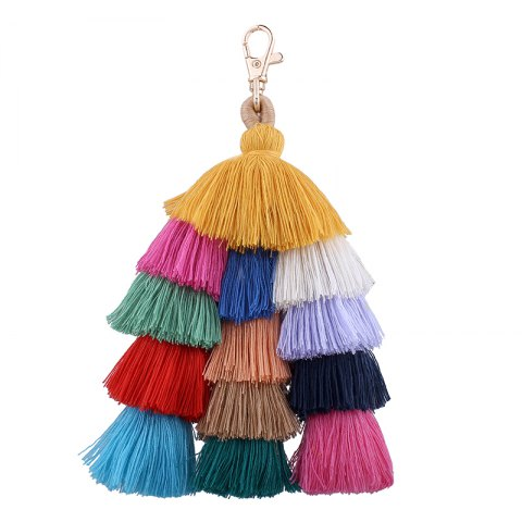 Shops Bohemian Multicolor Tassels Handmade Bag Pendant Key Ring