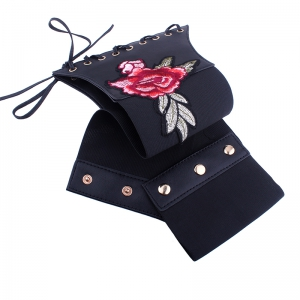 Vintage Embroidered Women Rose Sexy Slim Waist Tie-up Paper Tapes -