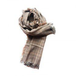 Women's Causal Large Check Tassel Scarf -