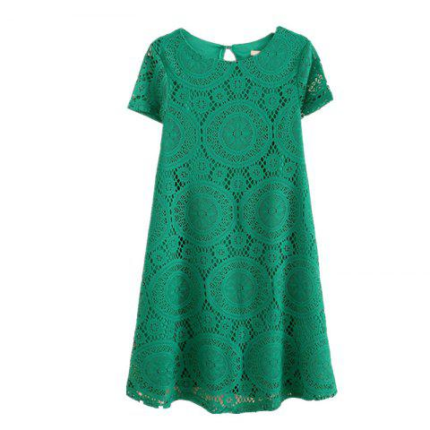 Sale Women's Wear Casual Short Sleeved Lace Dished Dresses