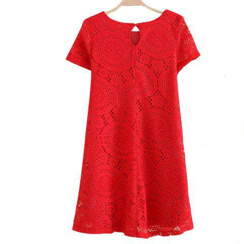 Affordable Women's Wear Casual Short Sleeved Lace Dished Dresses