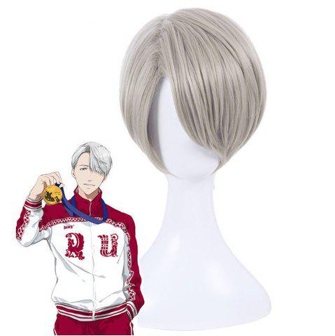 Online Short Synthetic Hair Gray Color Amine Cosplay Wigs For Men