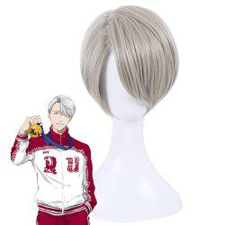 Short Synthetic Hair Gray Color Amine Cosplay Wigs For Men -