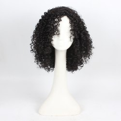 Curly Hair Synthetic Wigs for Women Jet Black Color High Temperature Fiber -