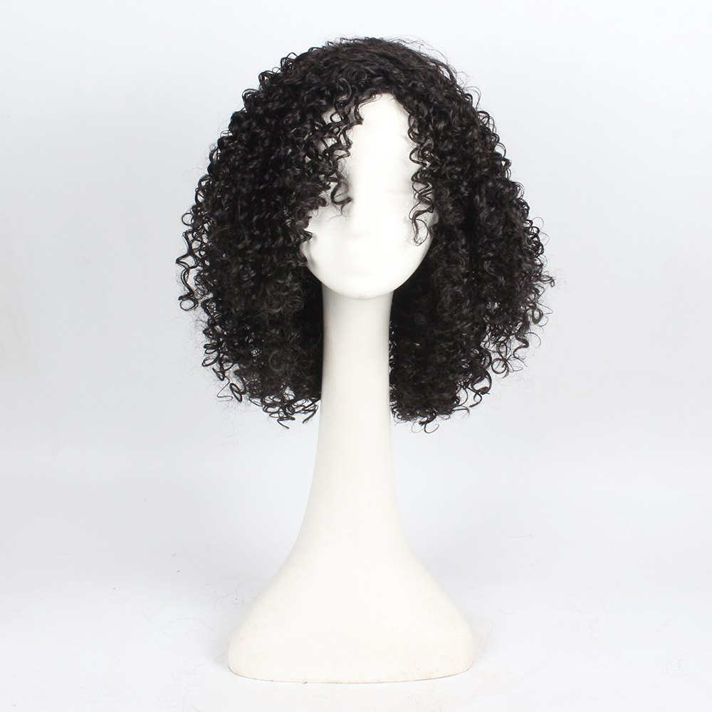 Hot Curly Hair Synthetic Wigs for Women Jet Black Color High Temperature Fiber