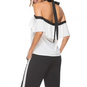 Women'S Top Ruffle Word Shoulder Halter Bow Suspenders  Cami Top -