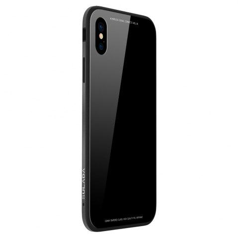 Silicone Soft Shell Metal Frame Toughened Glass Back Following for iPhone X Case