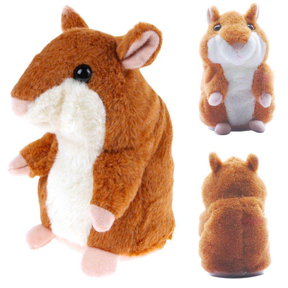 Talking Hamster Mouse Educational Toy Record Hamster Sound Recording Repeats What You Say Plush ToysHOME<br><br>Color: BROWN;
