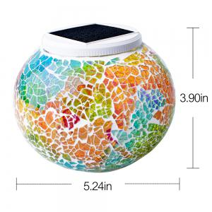 Solar Mosaic Glass Table Light For Decoration -