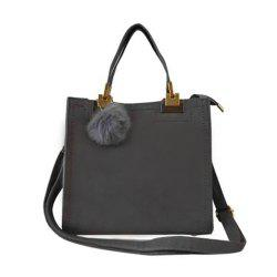Women's Handbag Matting Brief Style Sterling Fluffy Ball Embossed Bag -