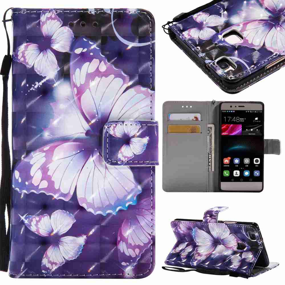 Trendy Explosions 3D Painted PU Phone Case for HUAWEI P9 Lite