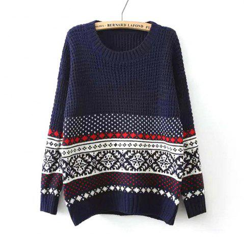 Buy National Snow Flower Female Pullover Loose Knit Winter Sweater