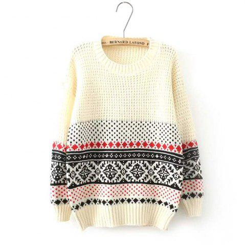 Trendy National Snow Flower Female Pullover Loose Knit Winter Sweater