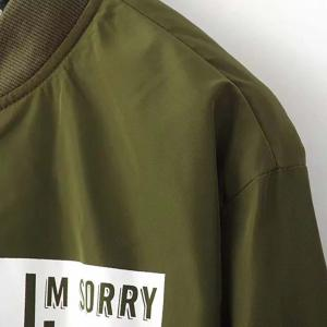 Fashion Collar Letter Printed Long Section of Baseball Windbreaker -