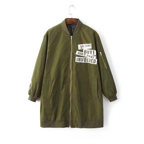 Chic Fashion Collar Letter Printed Long Section of Baseball Windbreaker