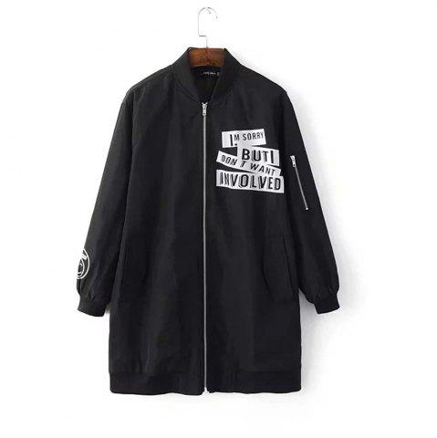Outfits Fashion Collar Letter Printed Long Section of Baseball Windbreaker