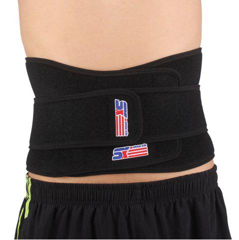Best Shou Xin SX632 Double Press Magnetic Therapy 6 - spring Elastic Waist Guard Protector - Black