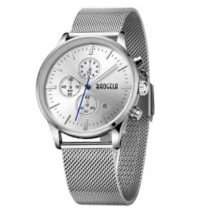 BAOGELA 1611 Chronograph Men Watch with Multi-function Stainless Steel Mesh Band -
