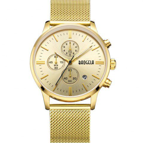 Hot BAOGELA 1611 Chronograph Men Watch with Multi-function Stainless Steel Mesh Band