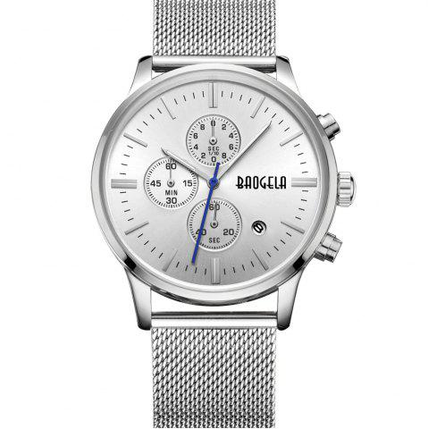 Latest BAOGELA 1611 Chronograph Men Watch with Multi-function Stainless Steel Mesh Band