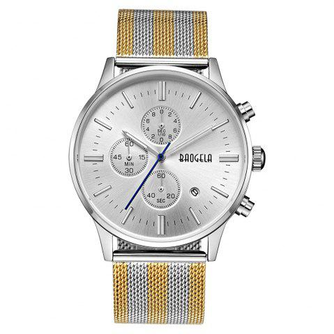 Shops BAOGELA 1611 Chronograph Men Watch with Multi-function Stainless Steel Mesh Band