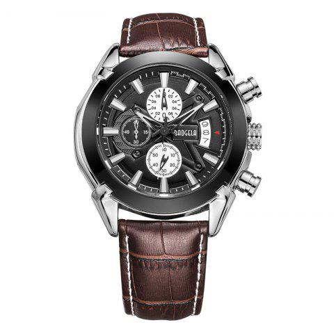 Latest Baogela 1602 Men Multifunctional Fashionable Causal Leather Strap Sports Quartz Wrist Watch