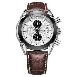 Baogela 1602 Men Multifunctional Fashionable Causal Leather Strap Sports Quartz Wrist Watch -