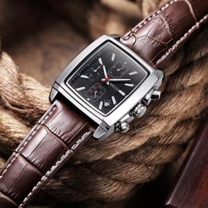 Baogela 1613 Men Chronograph Watch Luminous Waterproof Quartz Wrist Watch Leather Strap Rectangle Dial -