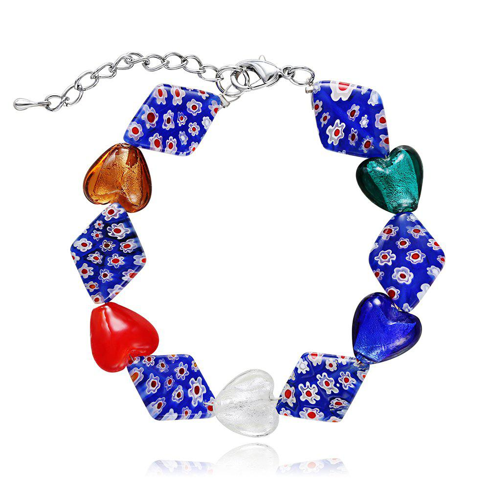 New Fashion Design Multicolor Glass Heart-shaped Bracelet Charm Jewelry