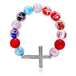 Fashion Design Glass Beads DIY Cross Beads Bracelet with Diamond Christmas Gift -