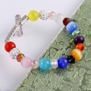 Colorful Glass Elastic Cross Beads Bracelets Charm Diy Jewelry Christmas Gif -